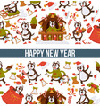 happy new year 2018 cartoon dog celebrating vector image vector image