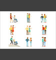 help and care for disabled people set for label vector image