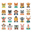 hipster animal avatar set vector image