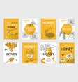 honey sketch poster honeycomb and bees flyer set vector image vector image