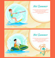 hot summer time banner color vector image