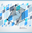 isometric abstract blue background with linear vector image