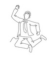 jumping businessman continuous line art vector image vector image