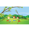 Kids playing football vector image