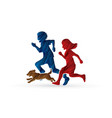 little boy and girl running together with a dog vector image vector image