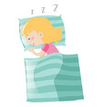 little girl sleeping on pillow vector image vector image