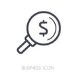 looking for money dollar symbol magnifying glass vector image vector image