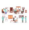 medicine and healthcare workers flat set doctors vector image vector image