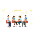 millennium generation communicate with each other vector image vector image