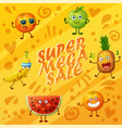 orange background with fruit characters food emoji vector image vector image