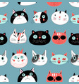 pattern amusing portraits cats vector image vector image