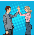 Pop Art Businessman Giving High Five to Partner vector image