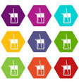 science flask icons set 9 vector image vector image
