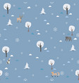 seamless winter pattern with trees and spruce vector image