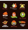 set bright cartoon style logos vector image vector image