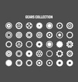 simple gear icons wheels set on black background vector image vector image