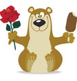 Smiling bear with red rose