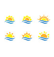 sunrise and sea cartoon logo temlates collection vector image