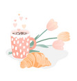 tasty croissant hot cocoa or chocolate drink vector image