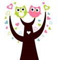 Two cute owls sitting on love tree vector image vector image