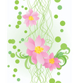 vector pink flowers on ornate green background vector image vector image