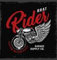 vintage brat style motorcycle emblem vector image