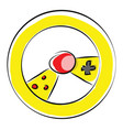 yellow gaming wheel with controls color on white vector image vector image