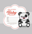 baby shower card with bear panda vector image