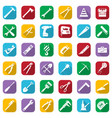construction tools white icons set on a color vector image