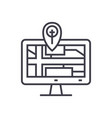 navigation monitor with map line icon sign vector image