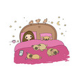 a little girl and cute pugs are sleeping on the vector image