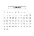 arrows line icon set vector image vector image