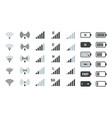 battery and signal icons smartphone charge status vector image vector image