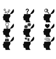 black open human head icons set vector image vector image