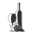 bunch grapes bottle and glass wine vector image