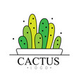 cactus logo design green badge with plants vector image vector image