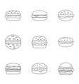 cheeseburger food icon set outline style vector image