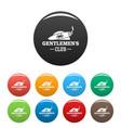 cigar men club icons set color vector image vector image