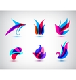 Collection Set Of Abstract Symbols Isolated On vector image vector image