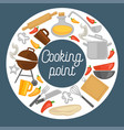 cooking point promo poster with kitchenware and vector image