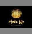 creative make up logo mmascara brush golden vector image