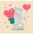 cute cartoon cat with a heart-shaped cactus and a vector image