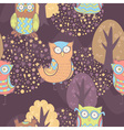 Cute cartoon owls fantasy coloful pattern vector image vector image