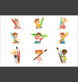 cute young children holding big pencils pens and vector image vector image