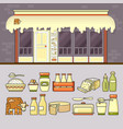 dairy shop and set of colorful food and drin vector image vector image
