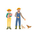 farmer and pig man with hens vector image vector image