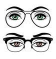 female eyes with glasses vector image