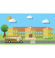 Flat design of school building and parked school vector image vector image