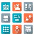 flat style conference concept white icons set vector image vector image