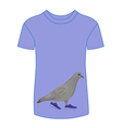 Going gray pigeon in blue sneakers t-shirt